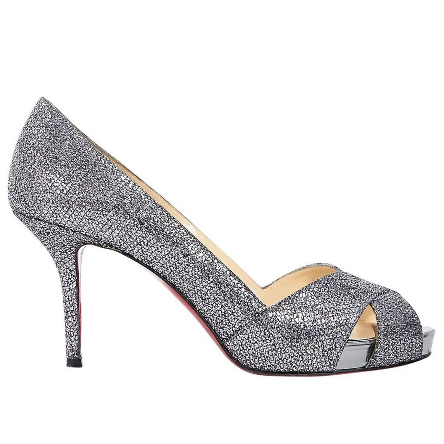 309c89a64728 Metallic Silver Christian Louboutin Glitter Pumps For Sale at 1stdibs