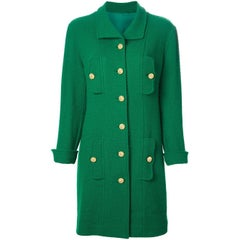 Chanel Green Wool Vintage Coat, 1990s