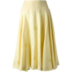 Céline Yellow Linen Vintage Skirt, 1980s