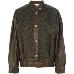 Céline Military Green Leather Vintage Jacket, 2000s