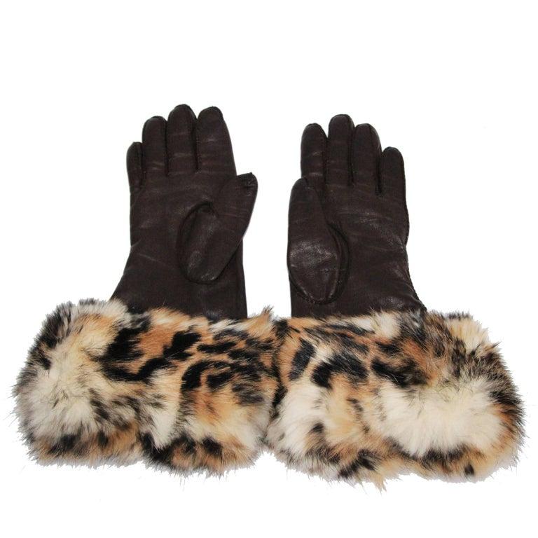 Hermes Leopard print gloves 80s