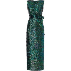 Norman norell Green mermaid evening gown with bow detail, circa 1965