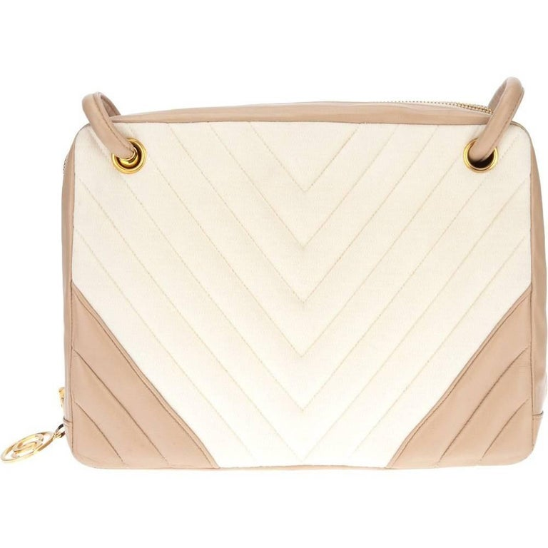 Chanel Pink and White Bag, 1990s For Sale