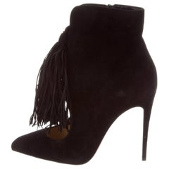Christian Louboutin New Black Suede Fringe Evening Ankle Booties Boots in Box