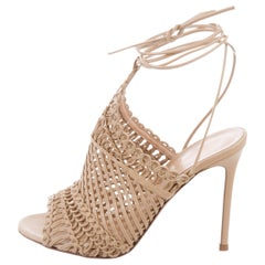 Gianvito Rossi New Tan Leather BasketWeave Evening Sandals Heels in Box