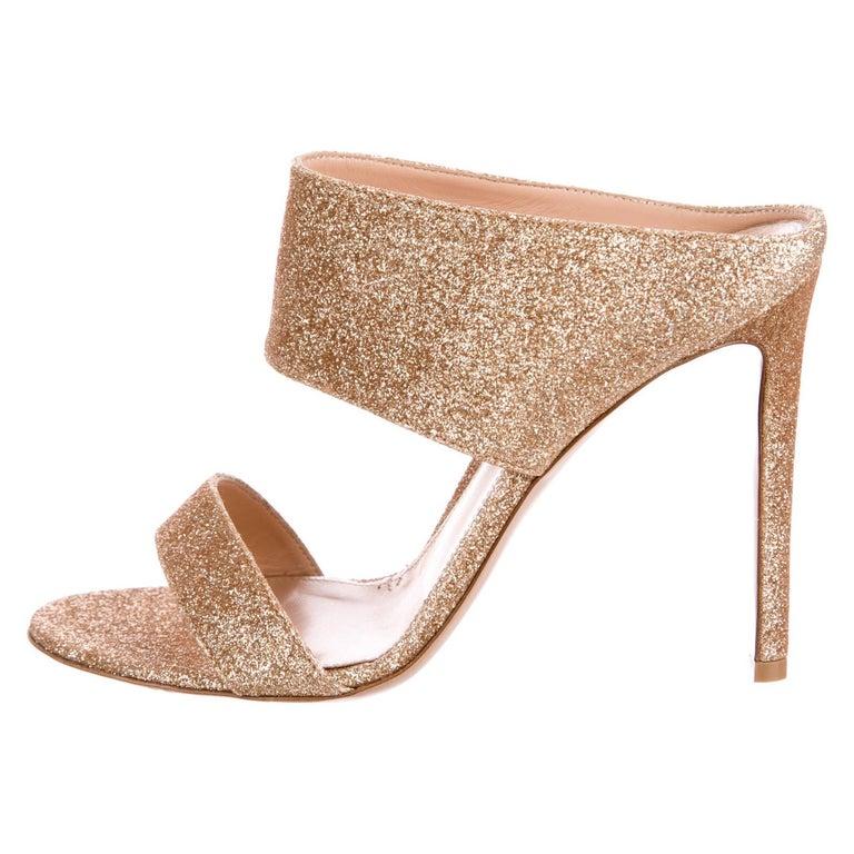 6c98b34c62 Gianvito Rossi New Gold Metallic Mules Evening Sandals Heels in Box For Sale