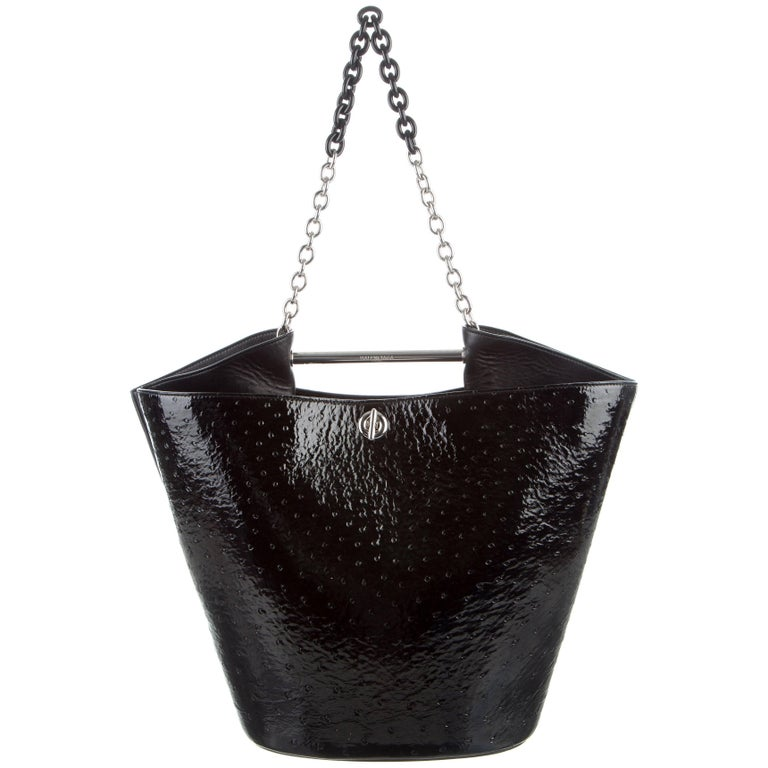 Balenciaga New Black Ostrich Exotic Skin Chain Carryall Top Handle Shoulder Bag