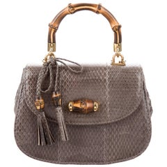 Gucci Gray Snakeskin Bamboo Top Handle Kelly Evening Satchel Shoulder Flap Bag