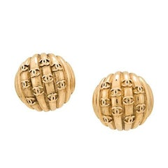 "Chanel Gold Textured ""CHANEL"" Charm Evening Stud Earrings in Box"