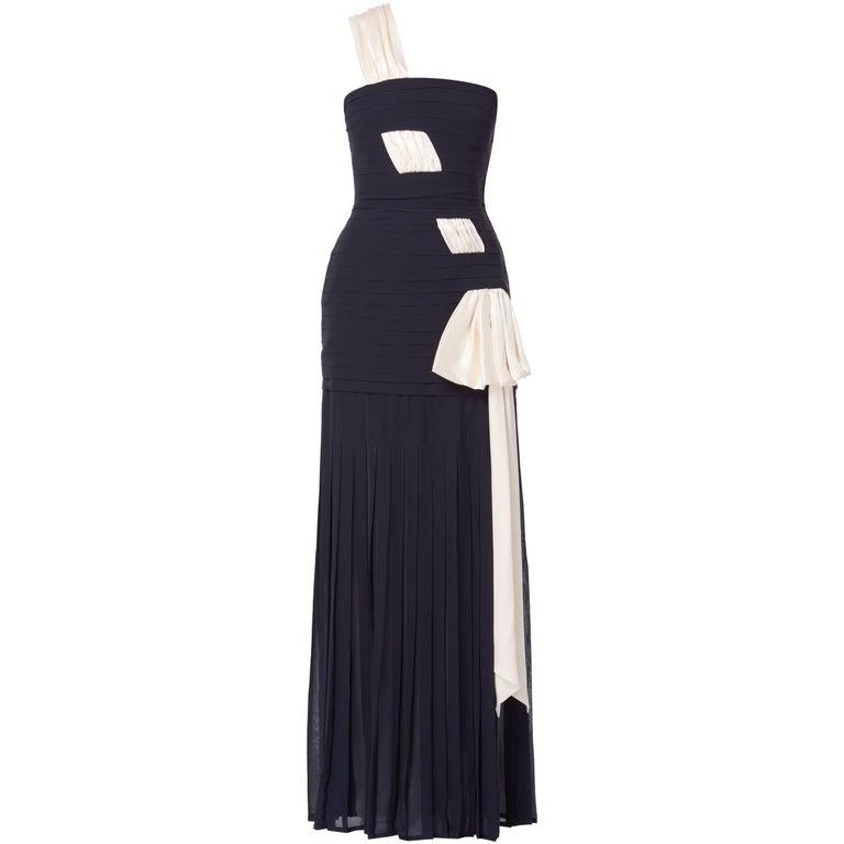 Mila Schon, Couture navy gown, circa 1978