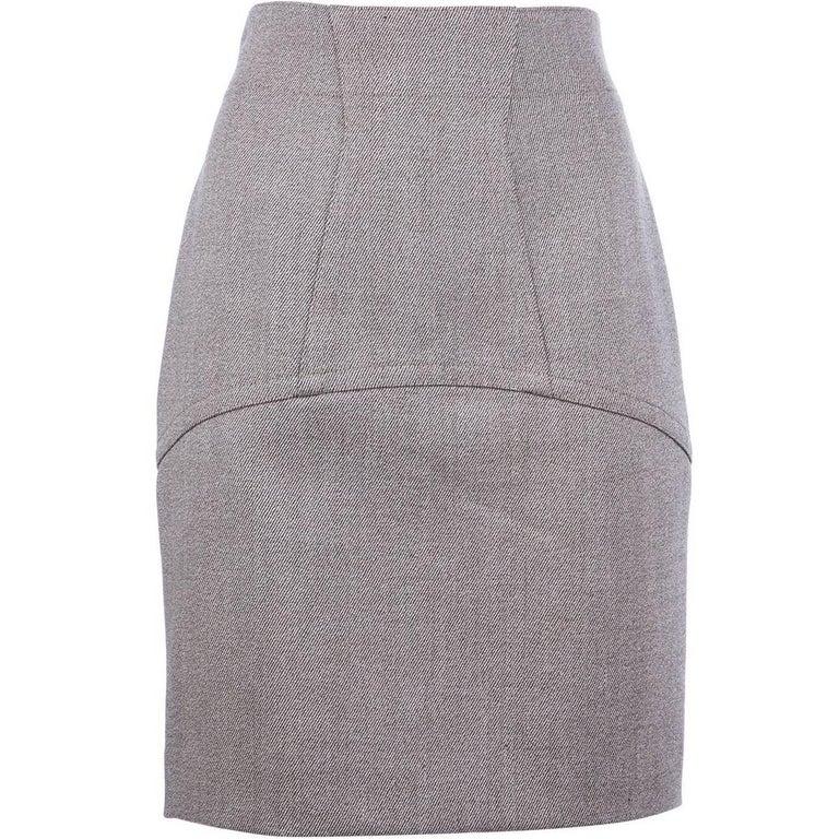 Alaïa Grey Wool Vintage Skirt, 1980s