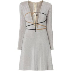 Rudi Gernreich silver lurex plunge mini dress with belt, circa 1968