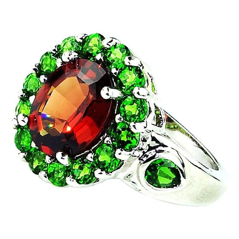 Spessartin Granat mit Chrome Diopside in Sterling Ring Januar Geburtsstein 2