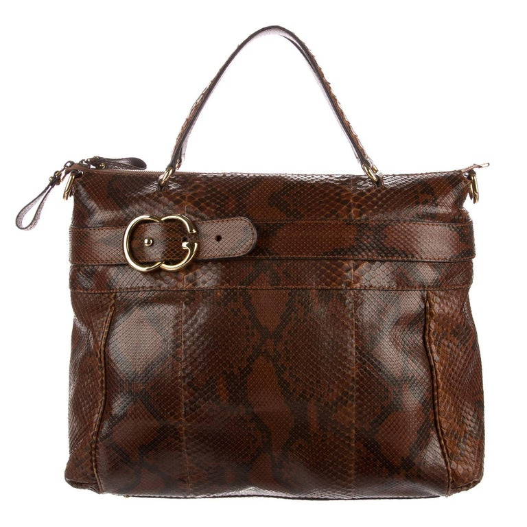 Gucci Cognac Snakeskin Men's Women's Carryall Travel Weekender Shoulder Tote Bag