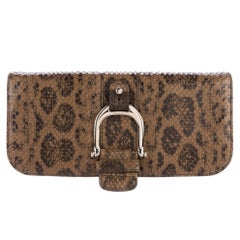 Gucci Taupe Snakeskin Leather Gold Emblem Evening Envelope Flap Clutch Bag
