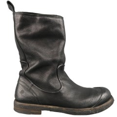 Men's MARSELL Size 9 Black Distressed Leather Toe Cap Boots