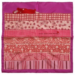 Hermes Pink Avez Vous Bien Dormi Silk Pochette Scarf