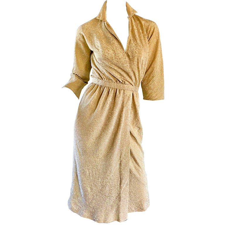 Halston 1970s Gold Metallic Silk Lurex Couture Vintage Disco Wrap Shirt Dress