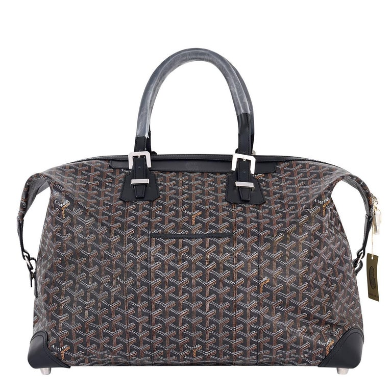 Goyard Boeing 45 Duffle Luggage Tote Black Chevron Bag  For Sale