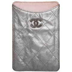 Chanel Silver Distressed Quilted Brilliant Cell Phone Case/Card Holder