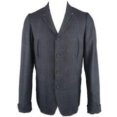 Men's THE VIRIDI-ANNE 42 Navy Plaid Silk / Linen 4 Button Sport Coat Jacket