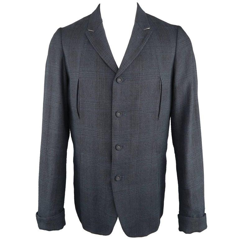 Men's THE VIRIDI-ANNE 42 Navy Plaid Silk / Linen 4 Button Sport Coat Jacket For Sale