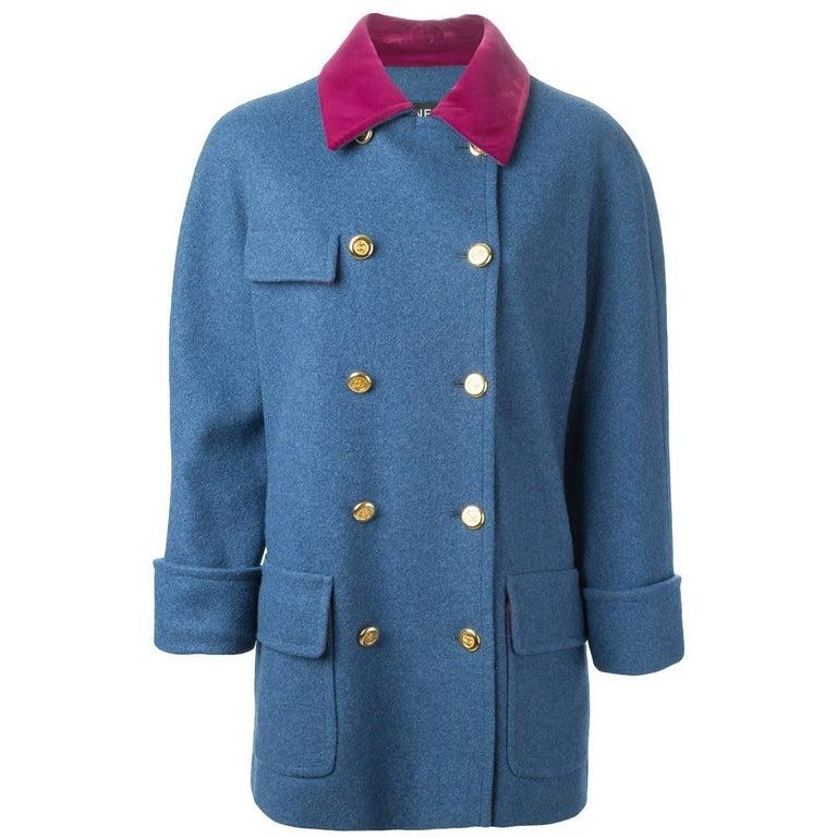 Chanel Blue Wool Vintage Coat, 1990s