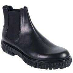 Valentino Mens Black Leather Rockstud Platform Chelsea Boots