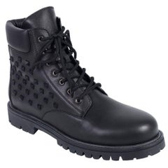 Valentino Mens Black Rockstud Lace Up Combat Boot