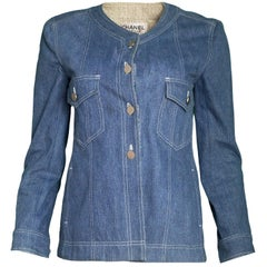 Chanel 1999 Blue Denim Jacket Sz FR38