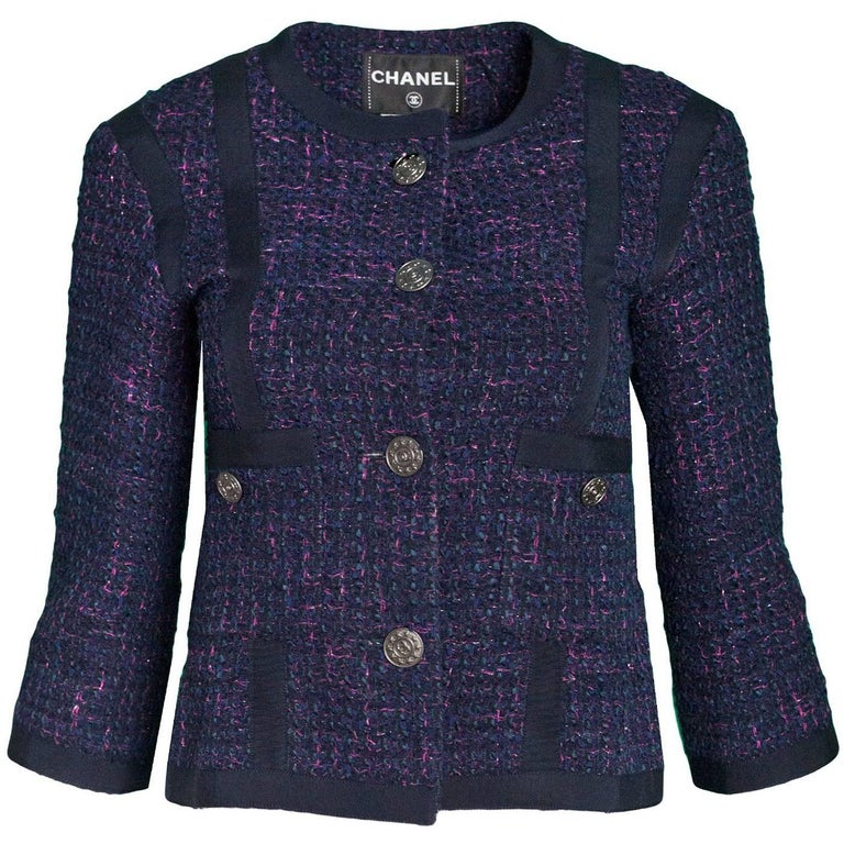 Chanel Navy & Pink Tweed Jacket with Grossgrain Trim Sz FR36