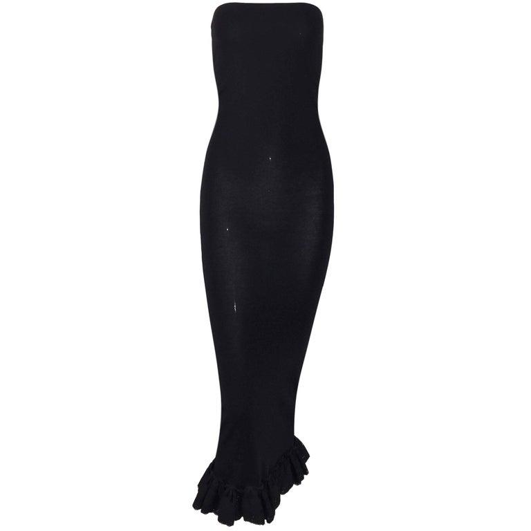 C. 1991 Dolce & Gabbana Long Black Strapless Pin-Up Wiggle Dress w Lace Hem
