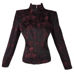 "Unworn F/W 1998 Alexander McQueen ""Joan"" Chinoiserie Black & Red Jacket"