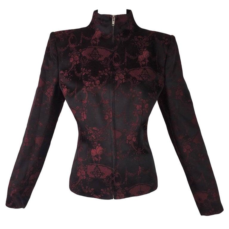"Unworn F/W 1998 Alexander McQueen ""Joan"" Chinoiserie Black & Red Jacket"