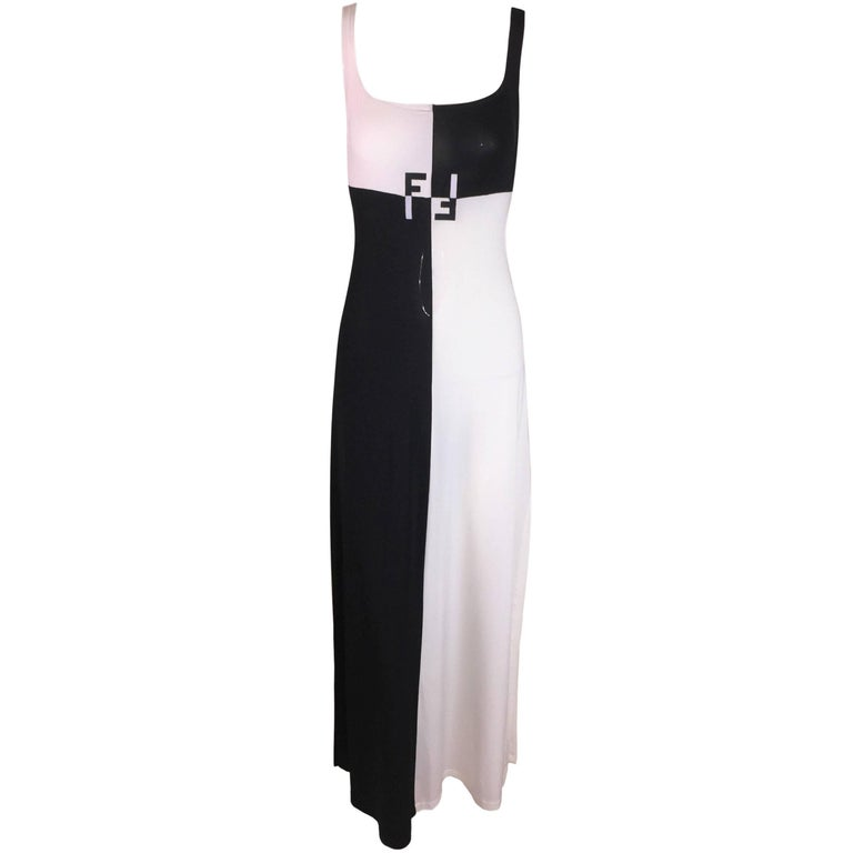 baf44378c271 1990 s Fendi by Karl Lagerfeld Sheer Black   White Color Block Long Gown  Dress ...