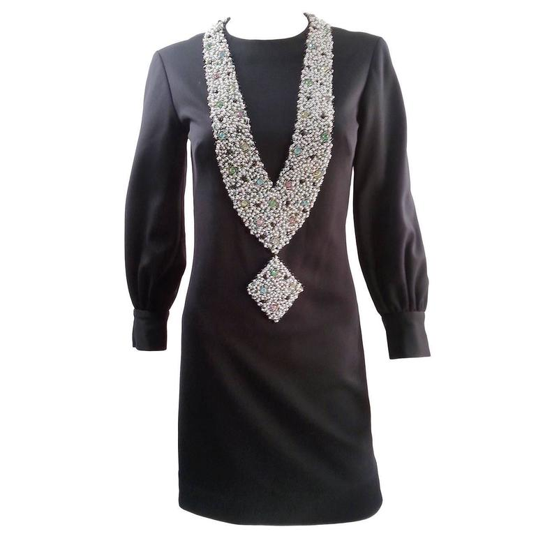 1960s Oscar de la Renta Tromp L'oeil Necklace Dress For Sale