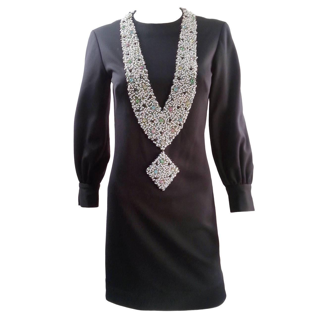 1960s Oscar de la Renta Tromp L'oeil Necklace Dress