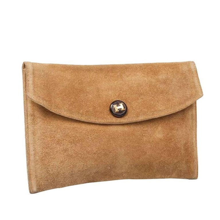 HERMES Vintage Clutch in Camel Suede For Sale