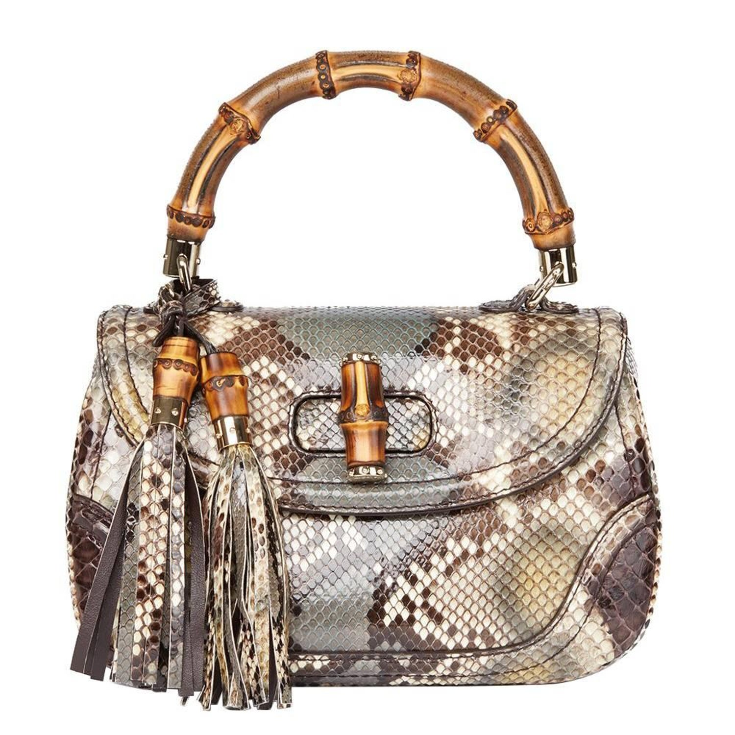 c37956b2a41 2010 Gucci Khaki Python Leather Bamboo Classic Top Handle at 1stdibs