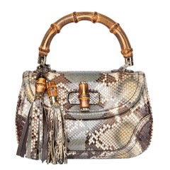 Gucci Khaki Python Leather Bamboo Classic Top Handle Bag