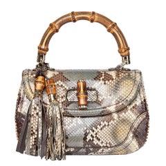 2010 Gucci Khaki Python Leather Bamboo Classic Top Handle