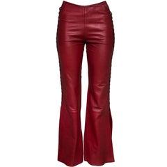 Catherine Malandrino Red Leather Lace Up Pants Sz 2