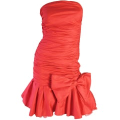 Christian Dior Strapless Red Dress with Ruffle, 1980s
