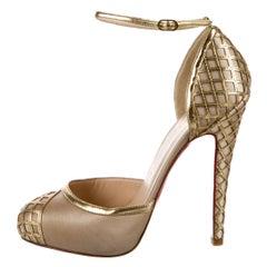 Christian Louboutin New Gold Textured Evening Sandal Pumps Heels