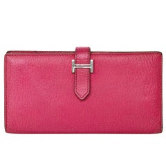 Hermes Rose Tyrien Chevre Mysore Leather Bearn Wallet