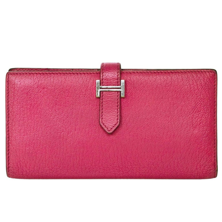 a3d95afac10e Hermes Rose Tyrien Chevre Mysore Leather Bearn Wallet For Sale at ...