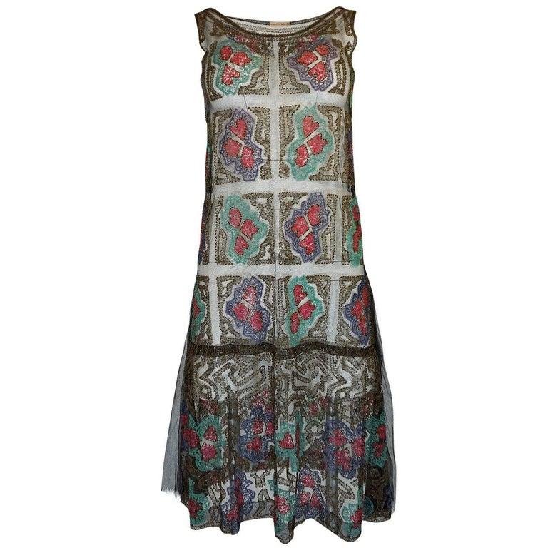 1920s Gold Metallic Lame Thread & Sequin on Net Flapper Dress