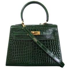 HERMES Mini Kelly Sellier Bag Vert Fonce Dark Green Crocodile GHW 20 cm RARE