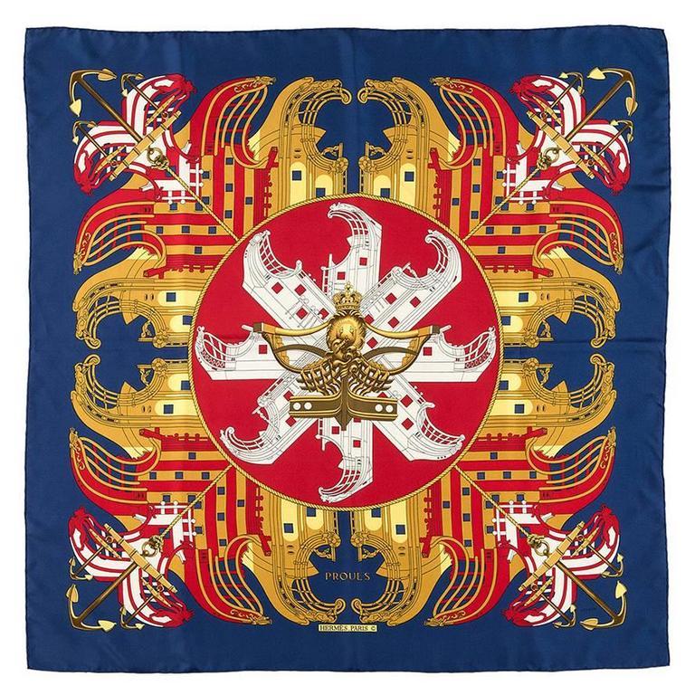 Vintage Hermes Scarf, 'Proues' by Philippe Ledoux 1