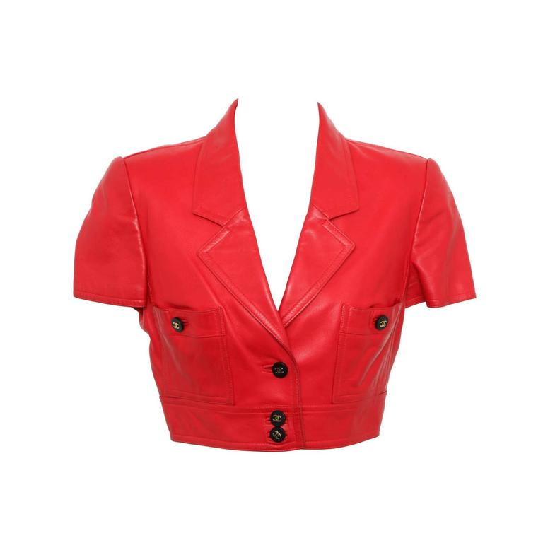 Chanel Rare Red Cropped Leather Jacket 1